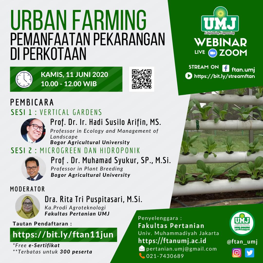 """Webinar """"URBAN FARMING, Pemanfaatan Pekarangan di Perkotaan"""""""