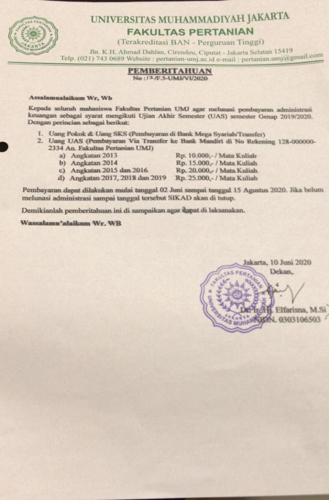 PEMBERITAHUAN: Pembayaran Administrasi Keuangan Syarat UAS